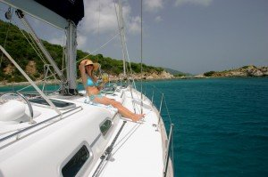 Sunbathing on sailing yacht in the British Virgin Islands