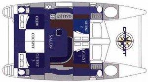 Yacht Layout of British Virgin Islands Charter Catalyst