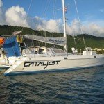 Catamaran charter Catalyst is available for captain only, half board, and full board rentals for your British or US Virgin Islands sailing vacation.