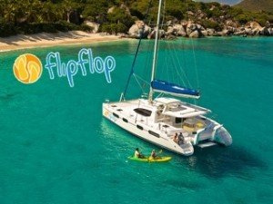 Sail the Caribbean aboard BVI catamaran rental Flip Flop. Accommodates up to 6 guests on its 3 Queen guest cabins. Available for Captain-only, half-board, and fully crewed sailing.