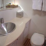 Ensuite toilet and bath on Lolita spacious cabins