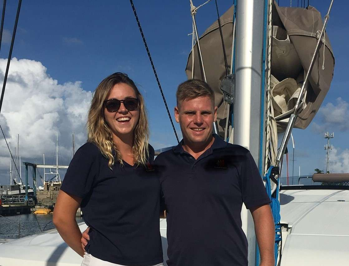 Captain and Crew of MOJO, a 48 ft Leopard Caribbean Yacht Charter