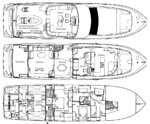 Yacht Layout of British Virgin Islands Charter Prime Time 88 ft Motor Yacht
