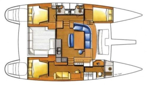 Yacht Layout of British Virgin Islands Charter Frenk 44 ft Catamaran