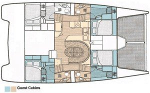 Yacht Layout of British Virgin Islands Charter Jet Stream 45 ft Catamaran