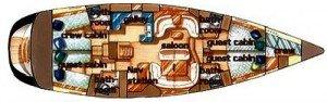 Yacht Layout of British Virgin Islands Charter Sayang 55 ft Sailing Yacht