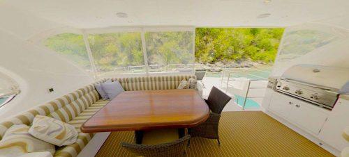 Sea Boss flybridge lounge