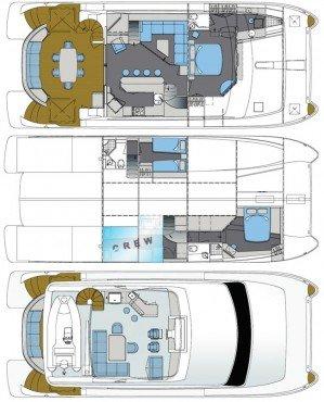 Yacht Layout of British Virgin Islands Charter Sea Boss 60 ft Power Catamaran