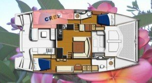 Yacht Layout of British Virgin Islands Charter Blossom 48 ft Catamaran