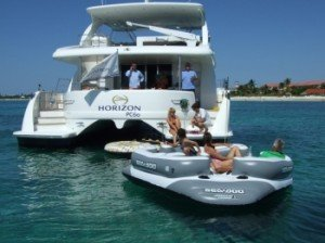 Come aboard BVI Yacht Charter Sea Boss 60 ft Power Catamaran