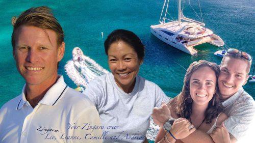 Captain and Crew of Zingara 76 ft Catamaran, a 76 ft Silhouette Caribbean Yacht Charter