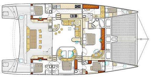 Yacht Layout of British Virgin Islands Charter Zingara 76 ft Catamaran