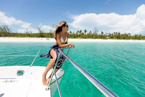 Come aboard BVI Yacht Charter Cat Cay 52 ft Power Catamaran