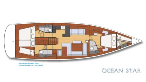 Yacht Layout of British Virgin Islands Charter Ocean Star 60 ft Sailing Yacht