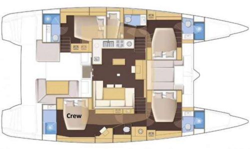 Yacht Layout of British Virgin Islands Charter Shangri La 52 ft Catamaran