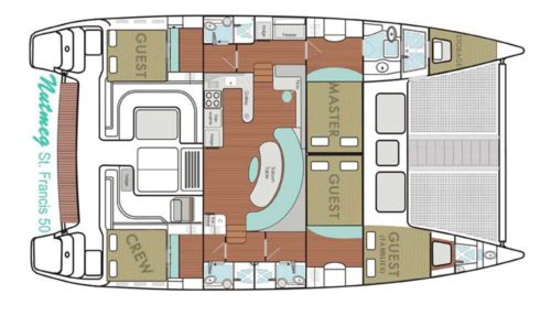 Yacht Layout of British Virgin Islands Charter Nutmeg 50 ft Catamaran