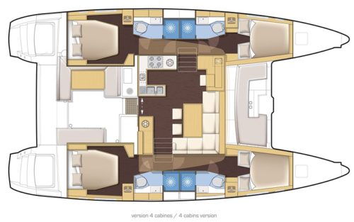 Yacht Layout of British Virgin Islands Charter Gypsy Princess 45 ft Catamaran