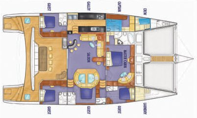 Yacht Layout of British Virgin Islands Charter Kings Ransom 76 ft Catamaran