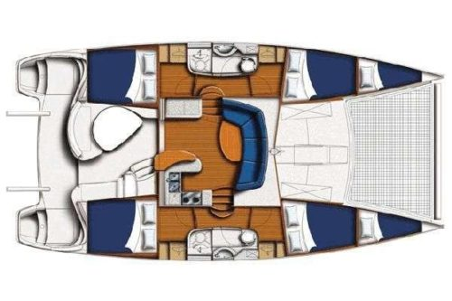 Yacht Layout of British Virgin Islands Charter Salty Girl 40 ft Catamaran
