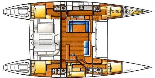 Yacht Layout of British Virgin Islands Charter Fuerte 3 67 ft Catamaran