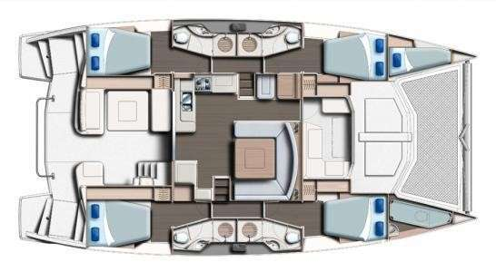 Yacht Layout of British Virgin Islands Charter MOJO 48 ft Catamaran