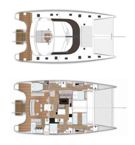 Yacht Layout of British Virgin Islands Charter Santa Ana 58 ft Catamaran
