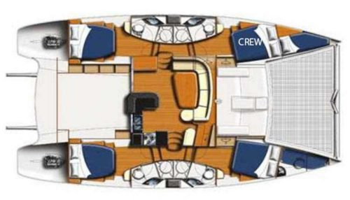 Yacht Layout of British Virgin Islands Charter Starfish 46 ft Catamaran