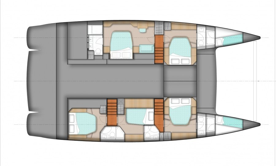 Yacht Layout of British Virgin Islands Charter Slivochka 59 ft Catamaran