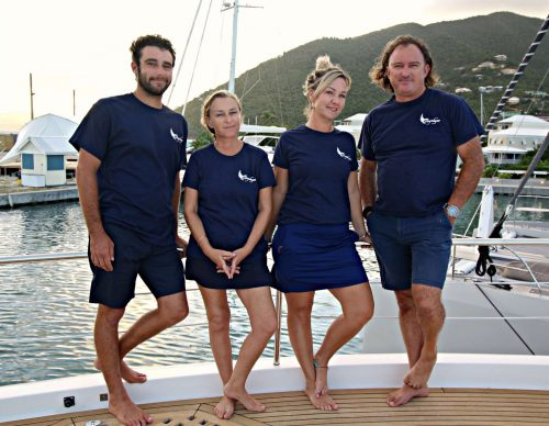 Captain and Crew of Angeleyes 85ft Motor Yacht, a 85.6 Ft  Horizon Caribbean Yacht Charter