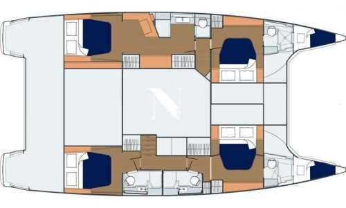 Yacht Layout of British Virgin Islands Charter Neverland 50ft Catamaran