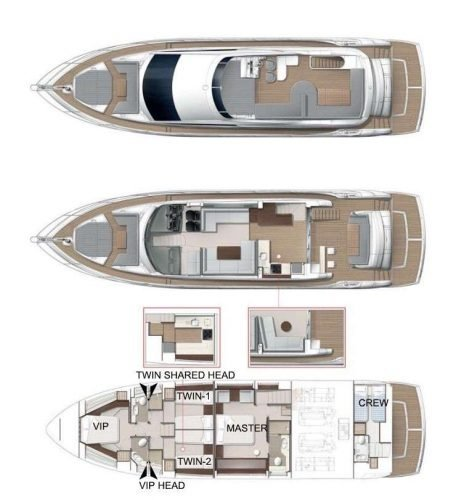 Yacht Layout of British Virgin Islands Charter Elite 66 ft Motor Yacht