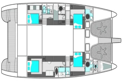 Yacht Layout of British Virgin Islands Charter Excess 70ft Catamaran