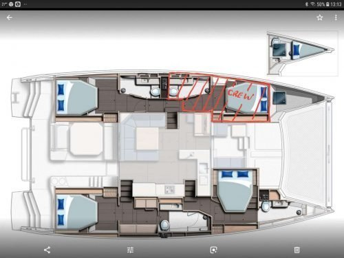 Yacht Layout of British Virgin Islands Charter Moon Blossom 50ft Catamaran