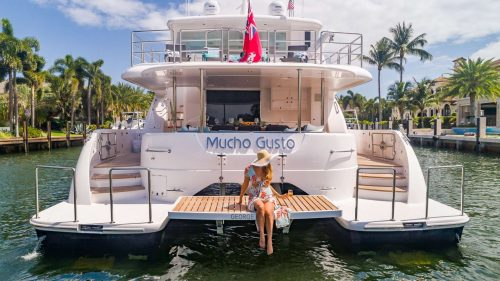 Come aboard BVI Yacht Charter Mucho Gusto 65ft Power Catamaran