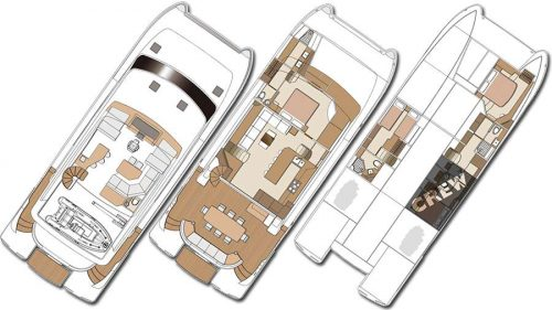 Yacht Layout of British Virgin Islands Charter Mucho Gusto 65ft Power Catamaran