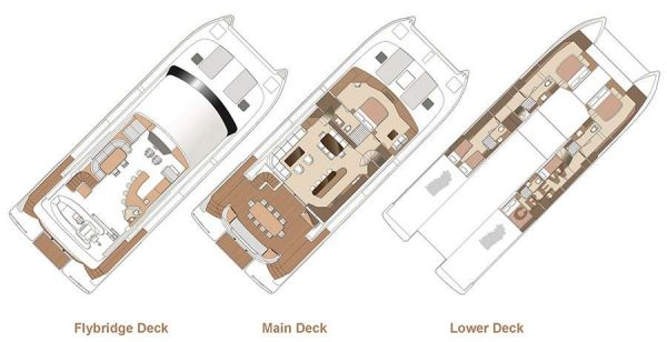 Yacht Layout of British Virgin Islands Charter Seaglass 74ft Power Catamaran