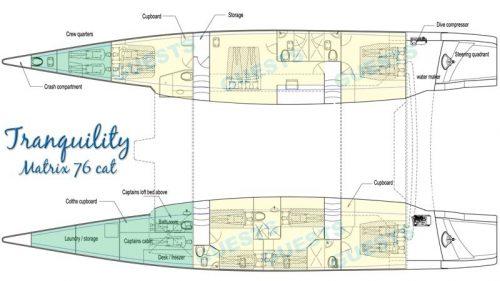 Yacht Layout of British Virgin Islands Charter Tranquility 76ft Catamaran