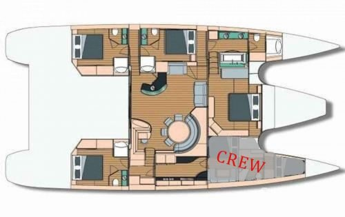 Yacht Layout of British Virgin Islands Charter Sur L'Eau 74 ft Catamaran