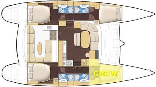 Yacht Layout of British Virgin Islands Charter Alize 44 ft Catamaran