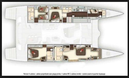 Yacht Layout of British Virgin Islands Charter Tellstar 77ft Catamaran